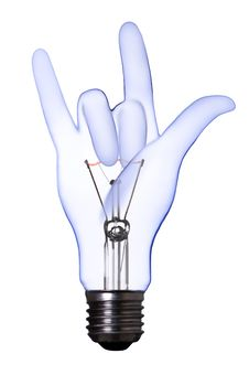 Love Sign Hand Lamp Bulb Stock Photography