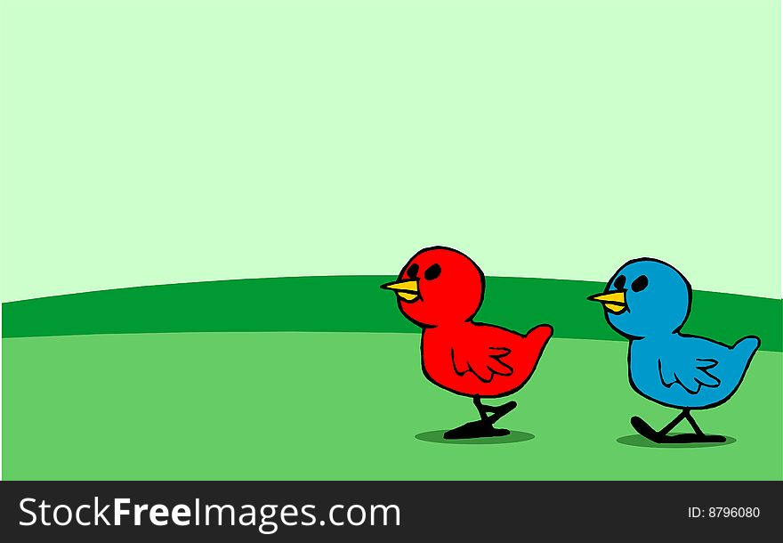 Red and blue chicks walking