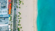 Free Blue Ocean And White Sand Top View Royalty Free Stock Photos - 87959438