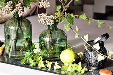 Free Green Leaved Plants In Green Clear Glass Vase Royalty Free Stock Photos - 87959818