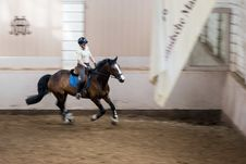 Free Rider And Horse In Riding School Stock Images - 87962174