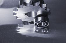Mechanical Reflection In Blue Royalty Free Stock Photos