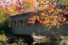 Free Autumn Covered Bridge Stock Photo - 884940