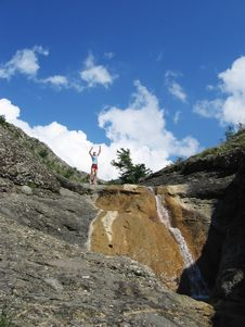 Free Jumping Girl And Waterfall Stock Images - 885474