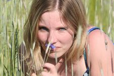 Free Beauty Woman On Meadow Royalty Free Stock Photos - 886078