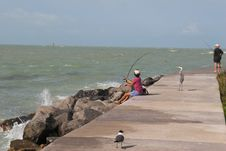 Free Woman Fishing Royalty Free Stock Images - 886289