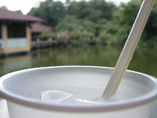 Cup And Straw At Resort Royalty Free Stock Photography