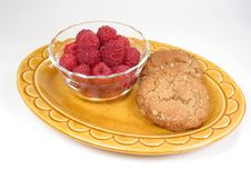 Raspberries & Cookies Stock Photos