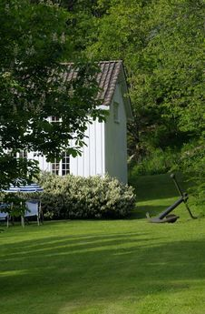 Free Detail Of Old, White, Wooden House In Norway Stock Photography - 888452