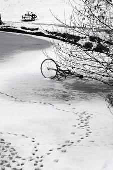 Bike On Ice Royalty Free Stock Photos