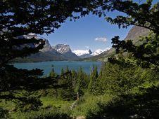 St Mary Lake Framed Stock Photos