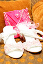 Free Bridal Shoes With Beads And Bag Stock Images - 8801734