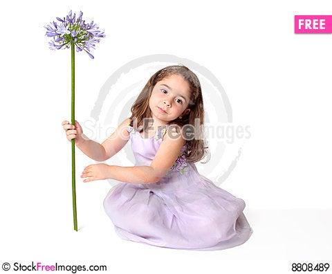 Serene girl with flower Stock Photo