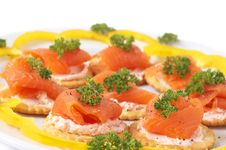 Free Smoked Salmon And Cream Cheese On Crackers Royalty Free Stock Image - 8801506