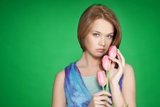 Free Beautiful Girl With Tulips Stock Image - 8801911