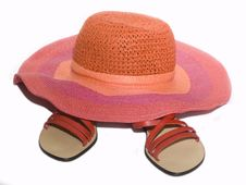 Free Sandals And Hat Stock Photography - 8803062