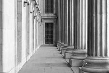 Old Corridor With Concrete Columns Stock Image