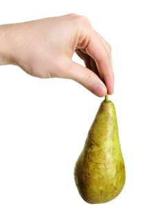 Pear Hanging From Hand Stock Images