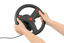 Free Computer Steering Wheel And Hands Royalty Free Stock Image - 8805616