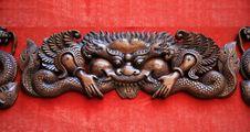 Woodcarving Dragon Stock Photo