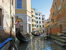 Free The Gondolas At Venice Street Royalty Free Stock Photos - 8807838