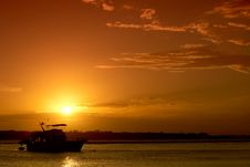 Free Bribie Island Boat At Sunset Royalty Free Stock Image - 8808216