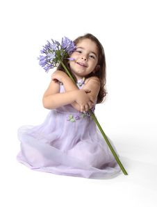 Free Beautiful Smiling Girl With Beautiful Flower Stock Photography - 8808502