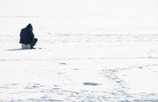 Fisherman On An Ice Stock Photo