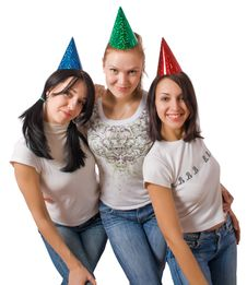 Free Funny Girls In Fool Caps Royalty Free Stock Images - 8809309
