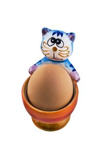 Free Amusing Eggcup With Cat Royalty Free Stock Image - 8809716