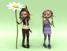 Cartoon Boy And Girl With Big Flower Royalty Free Stock Photography