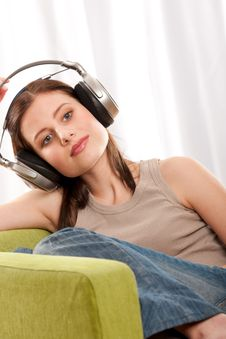 Free Students Series - Brunette With Headphones Royalty Free Stock Photos - 8811278