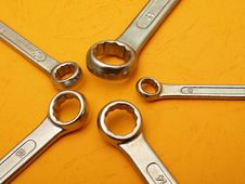 Box Wrench Head Detail On Orange Stock Images