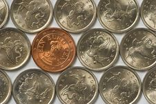 Free Euro Coin Among Russian Coins Royalty Free Stock Photos - 8812668