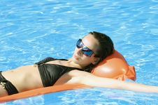 Free Swimming On The Air Mattress Stock Photography - 8813192