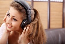 Free Young Sexy Women Listening Music In Headphones Stock Images - 8813624