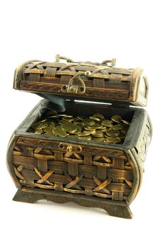 Chest Full Of Coins Stock Image