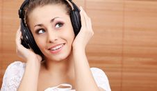 Free Young Sexy Women Listening Music In Headphones Royalty Free Stock Image - 8814006
