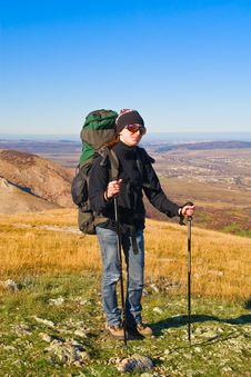 Free Hiker Girl On The Mountain Summit Stock Images - 8814724