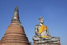 Buddha Statue And Stupa At Ayutthaya In Thailand Stock Photo