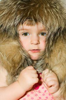 Little Girl In Fur Hat Portrait Stock Photography
