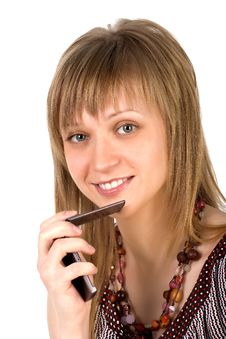 Free Young Woman Listens On A Mobile Phone Royalty Free Stock Images - 8818019