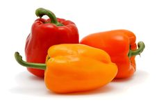 Free Three Bell Peppers On White Stock Images - 8818254