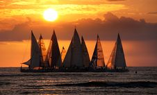 Free Sailing Into The Sunset.Waikiki. Stock Photography - 88100762