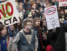 Free ACTA Protest On The Streets Of Dublin Stock Photo - 88101290