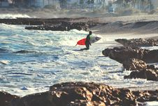 Free Surfer With Surfboard On Beach Stock Images - 88188364