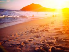 Free Sunset In Garopaba Beach - Santa Catarina, Brazil Stock Images - 88189184