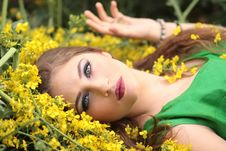 Free Close-up Portrait Of Young Woman With Yellow Flowers Stock Photo - 88192190