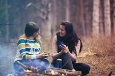 Free Women At Campfire Stock Image - 88193701