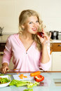 Free Pretty Girl Making Salad Stock Images - 8822524